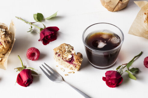 Raspberry muffin and glass of iced coffee - EVGF03389