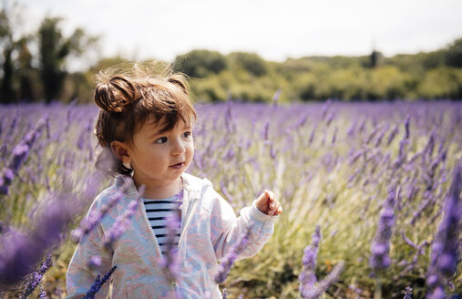 France, Grignan, portrait of baby girl in lavender field - GEMF02588