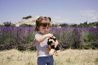 France, Grignan, portrait of baby girl with soft toy outdoors - GEMF02609