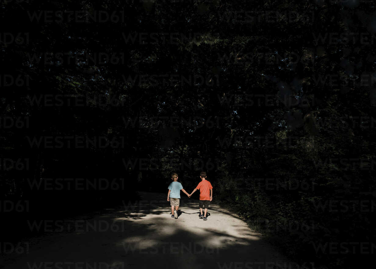 Rear view of brothers holding hands while walking on road amidst silhouette trees - CAVF56982 - Cavan Images/Westend61