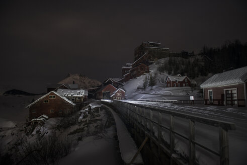 View of historic copper mine against sky during winter - CAVF57090