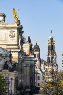 Germany, Dresden, academy of fine arts at Bruehl's Terrace and Dresden Cathedral in the background - JATF01102
