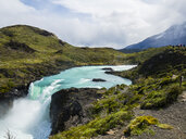 South America, Chile, Patagonia, View to Rio Paine, Torres del Paine National Park, Waterfall Salto Grande - AMF06297