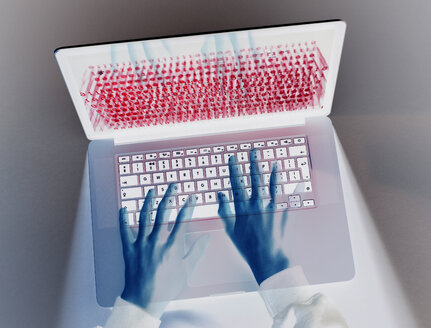Hands of hacker coding computer virus on laptop - ABRF00256