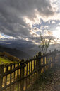 Spain, Asturias, Mountain landscape against the sun - MGOF03836
