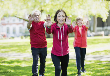 Active seniors practicing tai chi in park - CAIF22267