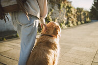 Woman with her golden retriever dog on a path - RAEF02235