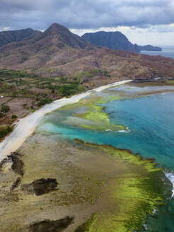 Indonesia, West Sumbawa, Maluk beach, Aerial view of Super Suck surf point - KNTF02418