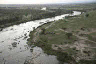 Aerial view of river amidst landscape at Serengeti National Park - CAVF57889