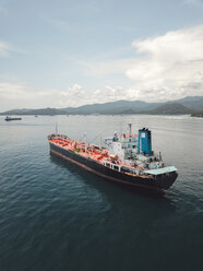 Indonesia, Bali, Aerial view of oil tanker - KNT02443