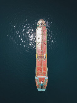 Indonesia, Bali, Aerial view of oil tanker - KNTF02446