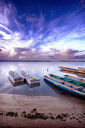 Boat moored on lake against sky during sunset - INGF08640