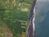 Indonesia, Bali, Keramas, Aerial view of Klotok beach, rice fields - KNTF02465
