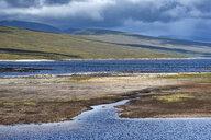 United Kingdom, Scotland, Caithness, Lairg, Loch Shin during low tide - ELF01974