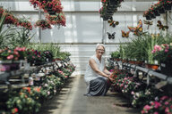 Portrait of mature woman crouching by plants at greenhouse - CAVF58499