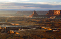 High angle scenic view of rock formations against cloudy sky at Canyonlands National Park - CAVF58655