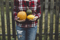 Midsection of woman holding squashes while standing against wooden fence at yard - CAVF58766