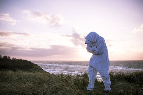 Denmark, Nordjuetland, Man wearing ice bear costume at the beach - REAF00471