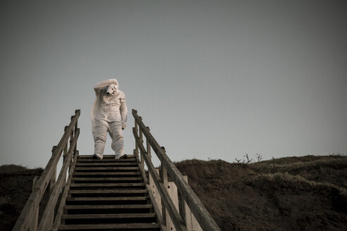 Man wearing ice bear costume on steps, despair - REAF00477