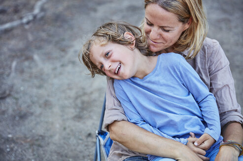 Portrait of happy mother with son outdoors - SSCF00103