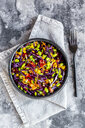 Salad with edamame, maize, red cabbage, carrot, bulgur, tomato, from above - SARF04010