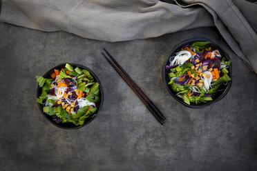 Two bowls of glass noodle salad with vegetables and peanuts - LVF07592