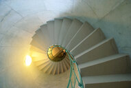 A spiraling architectural staircase in an old building - INGF09148