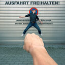 Surreal image of a man being punched into a metal wall with text on the background - INGF09205