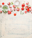 High angle view of fresh strawberries on a wooden table - INGF09466