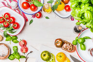 High angle view of fresh vegetables on a table - INGF09595