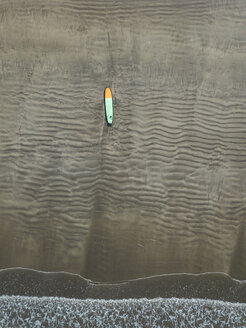 Bali, Kuta Beach, surfboard on the beach, aerial view - KNTF02504