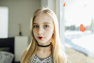 Portrait of girl with heart shape lipstick - CAVF59679