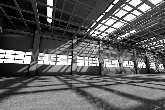 Architecture visualization of an empty warehouse, 3D