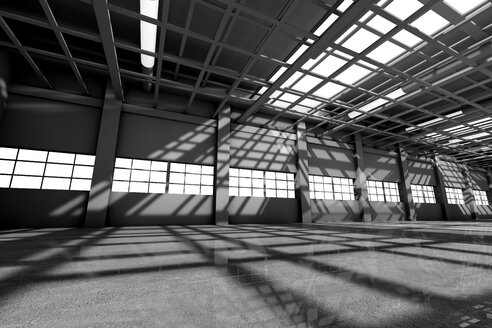 Architecture visualization of an empty warehouse, 3D Rendering - SPCF00297