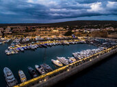 Mallorca, El Toro, Port Adriano at blue hour, aerial view - AMF06385