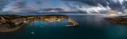 Mallorca, El Toro, Port Adriano at blue hour, aerial view - AMF06388
