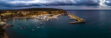 Mallorca, El Toro, Port Adriano at blue hour, aerial view - AMF06391