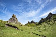 UK, Scotland, Inner Hebrides, Isle of Skye, Trotternish, rock formation at The Storr - ELF01983