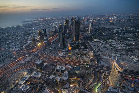 UAE, Dubai, Down Town Dubai and Sheikh Zayed Road at dusk - RUNF00372
