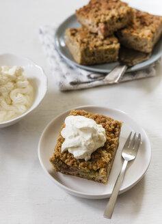 Homemade rhubarb cake with whipped cream - EVGF03404