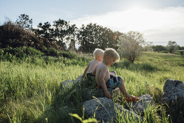 Shirtless brothers sitting on rock amidst grassy field against sky - CAVF59902