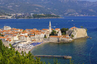 Montenegro, Adriatic Coast, Budva, Old town and city beach - SIE08192