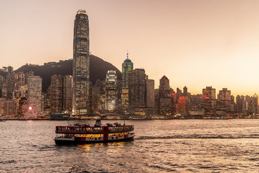 Hong Kong, Tsim Sha Tsui, cityscape at sunset - DAWF00815