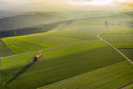 Germany, Baden-Wuerttemberg, Swabian forest, Fils Valley, Aerial view at sunset - STSF01815