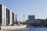 Germany, Berlin, Regierungsviertel, Marie-Elisabeth-Lueders-Building at Spree river and TV Tower Berlin in the background - GWF05702