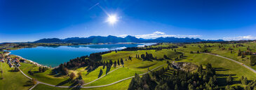 Germany, Bavaria, East Allgaeu, Region Fuessen, Dietringen, Aerial view of Forggensee lake - AMF06446