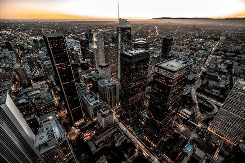 USA, California, Los Angeles, cityscape at twilight - DAWF00840