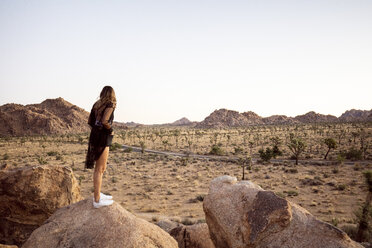 USA, California, Los Angeles, woman on rock overlooking landscape in Joshua Tree National Park - DAWF00843