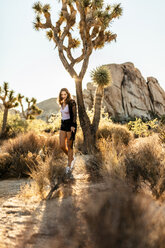 USA, California, Los Angeles, woman walking in Joshua Tree National Park in backlight - DAWF00852