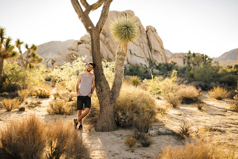 USA, California, Los Angeles, smiling man leaning against Joshua Tree in Joshua Tree National Park - DAWF00855